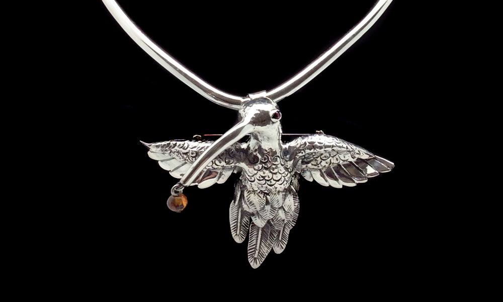 Taxco sterling silver in hummingbird design by Ignacio Gomez.