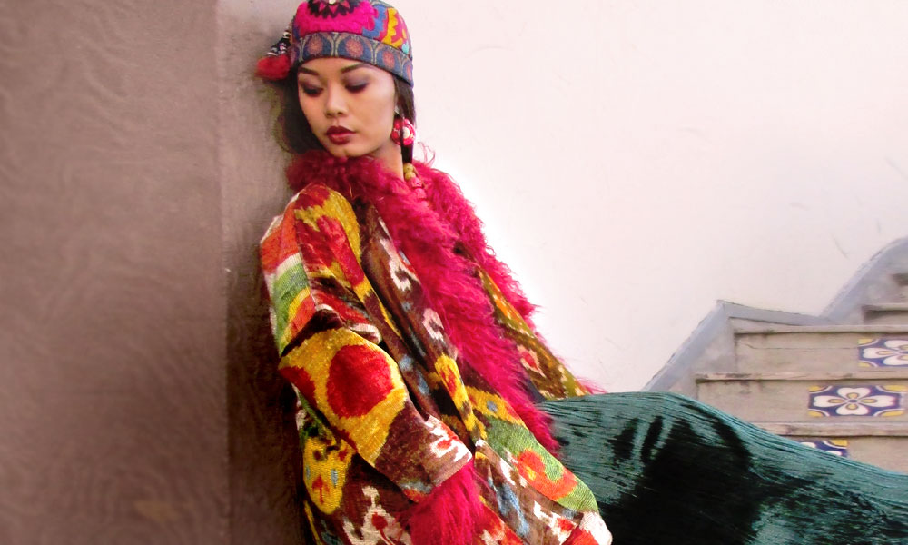 Jacket made from antique ethnographic textiles from Suzi Click.