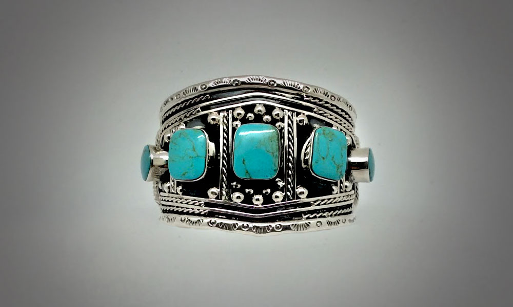Taxco silver and turquoise cuff from Design Import.
