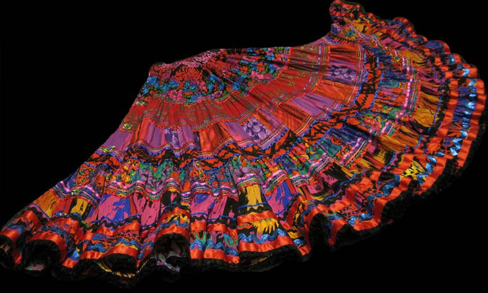 Hand-sewn multi tiered gypsy style skirts from Anna Konya.
